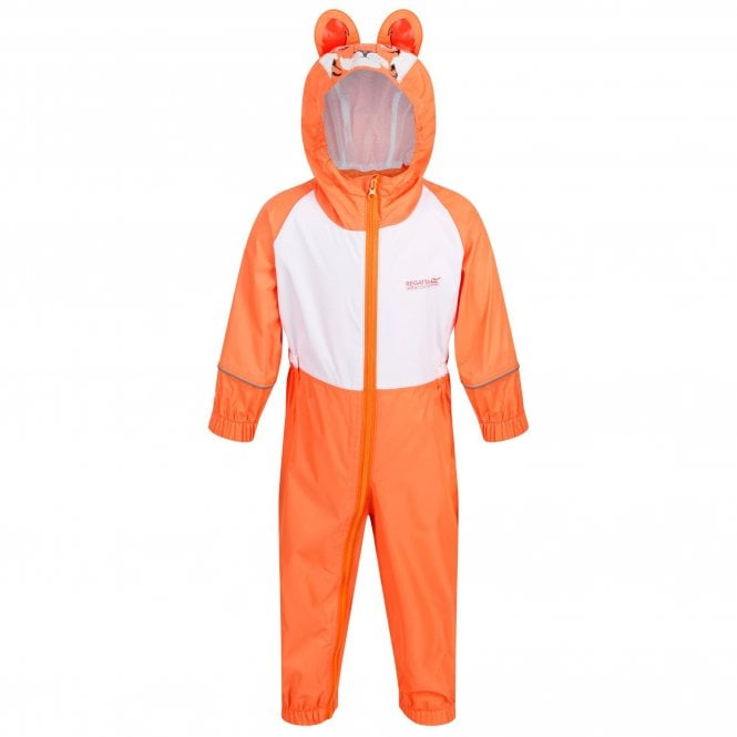 Regatta Charco Childrens All In One Waterproof Suit Orange Tiger