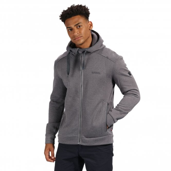 Regatta Langdon Mens Full Zip Hooded Fleece Top Rock Grey